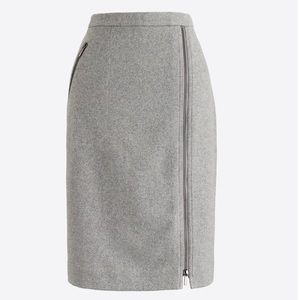 J Crew Wool pencil  Zipper Charcoal skirt 10